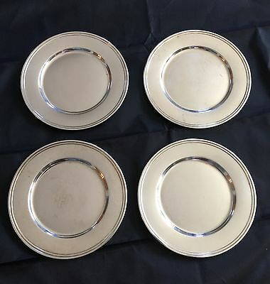 Set of 4 Vintage Sterling Silver Marked Alvin # E49 Bread Plates 6 Inch Dishes
