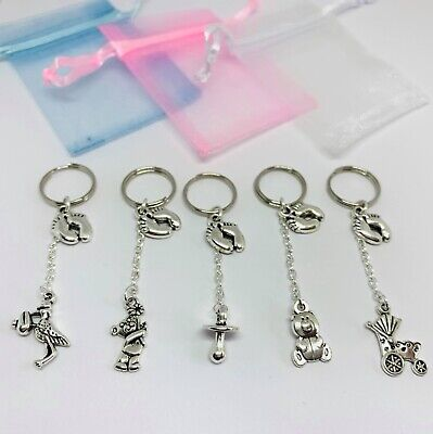 5 x Baby Shower Keyring charm Pregnancy BOY/GIRL blue pink favour thank you gift