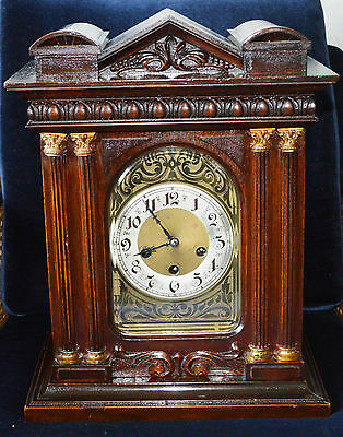 Antique Victorian Mahogany Junghans Bracket Clock