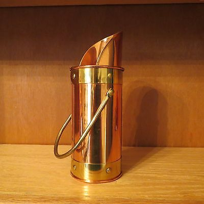 "Vintage Brass And Copper Fireplace Long Matchstick Holder 8"" Tall  With Handle"