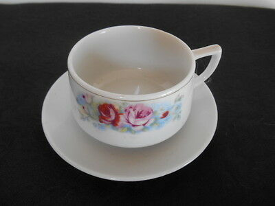 Charming Vintage Mid Century Porcelain Beautiful Flowers Short Tea Cup & Saucer