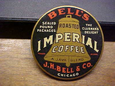 IL Chicago J. H. BELLS IMPERIAL COFFEE Celluloid Advertising Pocket Mirror