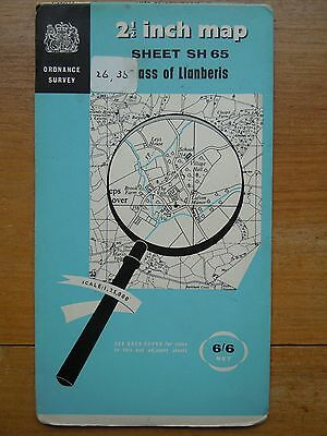 "Vintage Os Map Wales  2 1/2"" Sheet Sh65 Pass Of Llanberis, Scale:1,25,000 Gd Con"
