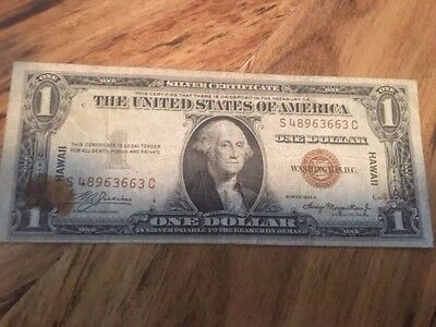Vintage $1 Hawaii 1935-A Silver Certificate One Dollar Currency Brown Seal Bill