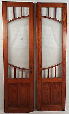 Pair of Vintage Pitch Pine Doors with Peacock Design on Frosted Glass (5204)NJ