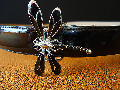 TALBOTS Black Faux PATENT LEATHER BELT DRAGONFLY Buckle Silver Metal M