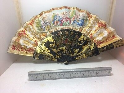 ANTIQUE 19thC CHINESE GOLD BLACK LACQUER HANDPAINTED 2-SIDED FAN