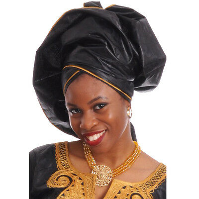 Black African Head Wrap with Gold Trim One size , scarf, 100% Cotton.  DP3262HL