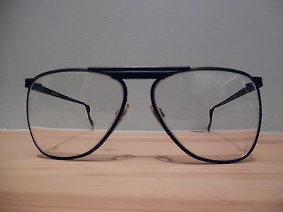 Vintage Pilkington Black Metal Oversize Eye Glasses PO21 ? 21 95 1977
