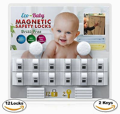 Baby & Child Proof Cabinet & Drawers Magnetic Safety Locks Set of 12 with 2 Keys