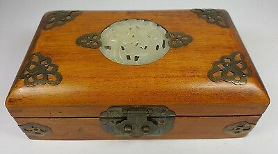 Vintage Oriental Chinese Hand Made Solid Wooden Jewelery Box - Brass & Soapstone