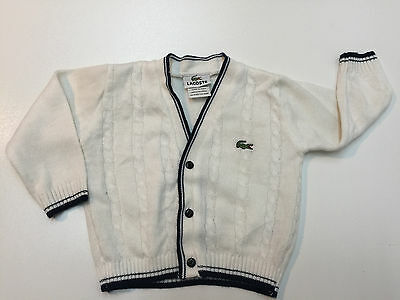 Lacoste toddler Boy Cotton Cable Knit Sweater Size 2 White Blue