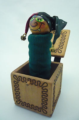 VINTAGE HANDMADE FOLK ART JACK- IN-THE-BOX JESTER - Wood & Leather Hand Painted