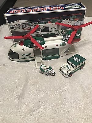 2001 Hess Helicopter Truck, Motorcycle & Cruiser, New in Original box
