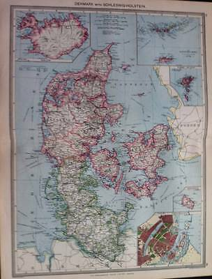 Map, DENMARK & RUSSIA - THE CAUCASUS c1906, 2 color antique maps