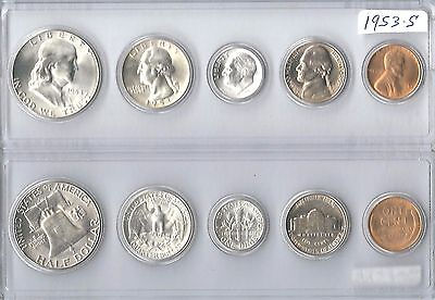 1953-S US Silver mint set - 5 Choice BU coins in Whitman plastic holder