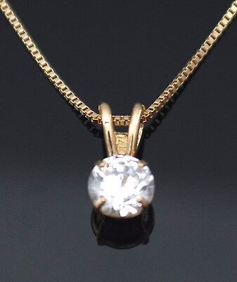 Round Solitaire Cut 14K Yellow Gold Pendant Necklace With Box Chain 0.25Ct