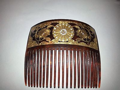 Antique Beautiful 18kt Gold Flower Design and Rhinestone Hair comb by F. P. Co.