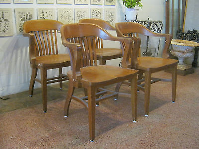 SET OF 4  Antique Vintage Lawyer Banker Oak Desk Arm Chairs Gunlocke Sikes style
