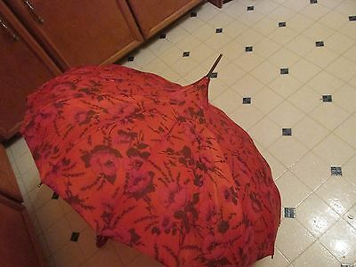 Beautiful Vintage Pagoda Umbrella Floral Pattern with red vinyl handle