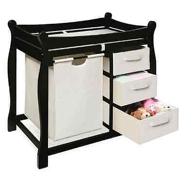 Baby Furniture Changing Table 3 Basket  Storage Pad Diaper Nursery Station Black