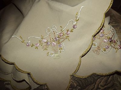 ANTIQUE 1920's Silk Embroidered Bows Flower Baskets Tablecloth Cover VINTAGE