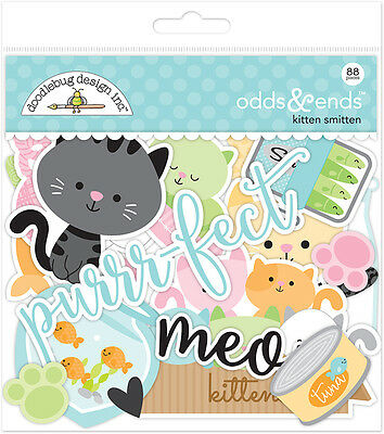 Doodlebug Design Kitten Smitten Pet Cat Odds & Ends Cardstock Scrapbook Die Cuts