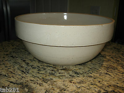 "Antique Nice Large 13"" Stoneware Pottery Salt-Glazed Crock Mixing Bowl"