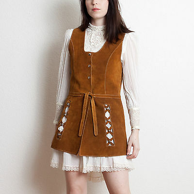 Vintage 60s 70s Studded Brown Suede Vest Mod Festival Hippie Boho Jumper Dress M