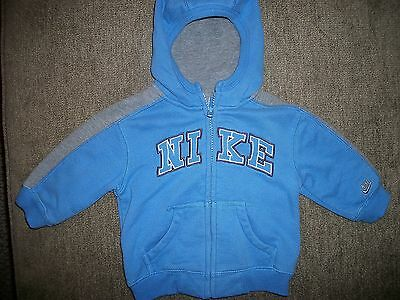 Infant Baby NIKE Zip Up Hooded Jacket Coat, Size 12 Months, Blue Gray, GUC