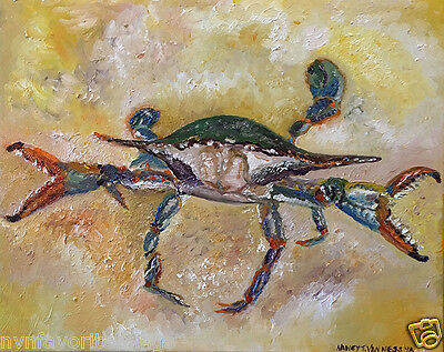 """Blue Crab 8""""x10"""" oil painting print Wall Decor Home Signed by Artist Van Ness"""
