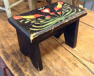 Vintage FOLK ART PAINTED WOODEN STOOL Peter Hunt style: birds,flowers,heart