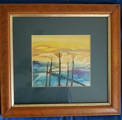 Original Bright Watercolour Painting Birds on Lake Silhouettes Wire Framed Small