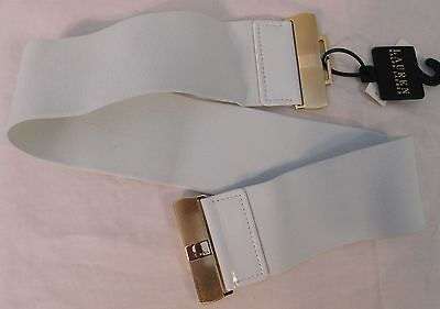 Women's Ralph Lauren Small Faux White Leather with Elastic Stretch Belt NEW $48