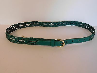 Fossil Size Medium Belt Teal Green Leather Braided And Gold Buckle  NEW