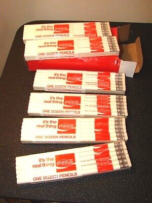 Box of 72 Vintage Coca Cola Pencils; 6 Sealed Packs of 12 White/Red Pencils!MINT