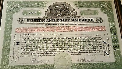 Boston and Maine Railroad Stock Certificate 1943 $5.00 (cashed)