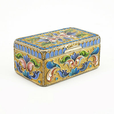 Antique Russian Gilded Silver Enamel Trinket Box Snuff Box Moscow circa 1900