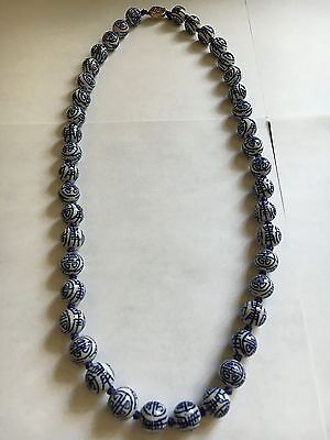 Asian Chinese China  Necklace Porcelain Blue and White Beads Hand Knotted