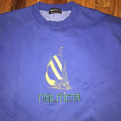 VTG Nautica Crewneck Sweatshirt Size Men's M/L Blue Embroidered Logo Lil Yachty