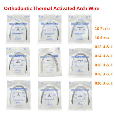 10 Packs AZDENT Dental Ortho Thermal Activated NITI Arch Wires Round 10 Sizes