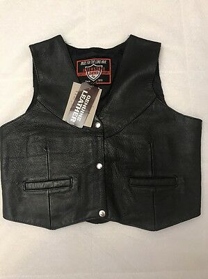 NWT Biker Vest Interstate Leather Classic Black Size XL Women's 3 Snap Front New