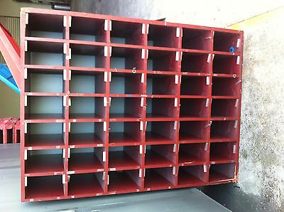 Large Industrial Wooden Pigeon Hole Storage Shelving Unit