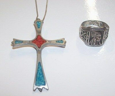 Vintage Sterling Silver Indian Chief Ring Coral Turquoise Cross Pendant Necklace