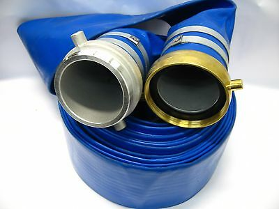 """4"""" x 50ft Water Discharge Hose w/Pin Lug NPT Male & Female Fittings Blue PVC"""