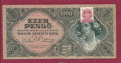 Hungary Ezer 1000 Pengo with Stamp 1945 Banknote 034024 RARE! Post War Inflation