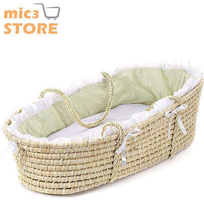 Baby Moses Basket Sage Gingham Bedding Natural Infant Foam Mattress Pad New