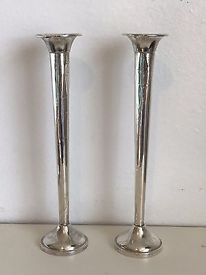 "Vintage Pair French & Franklin Sterling Trumpet Vases 7-3/4"" 1930s Weighted Base"