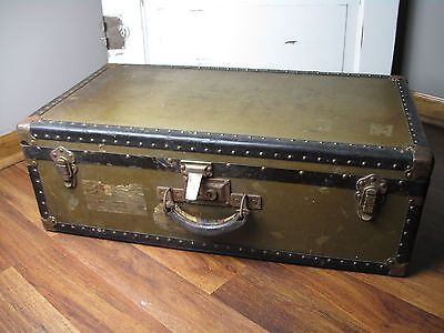 Vintage Antique Steamer Style Hard Sided Suitcase Trunk Locker Railroad Carry On