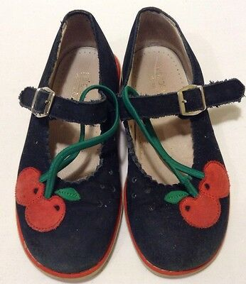 "Nordstrom Toddler Girl Shoes Blue Leather ""Cherry"" Size 10"